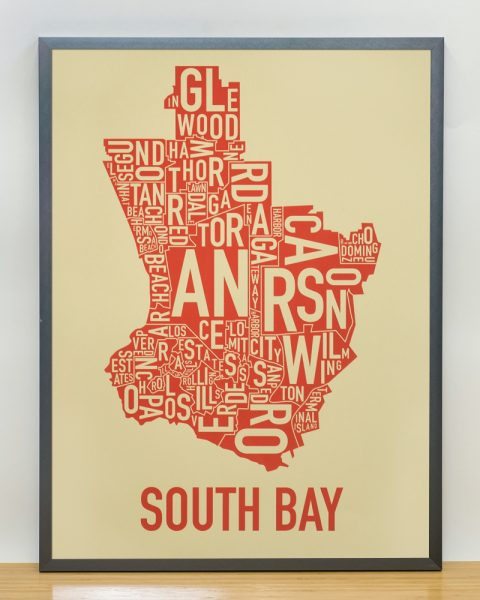 South Bay los angeles Tan Print in Steel Grey Frame
