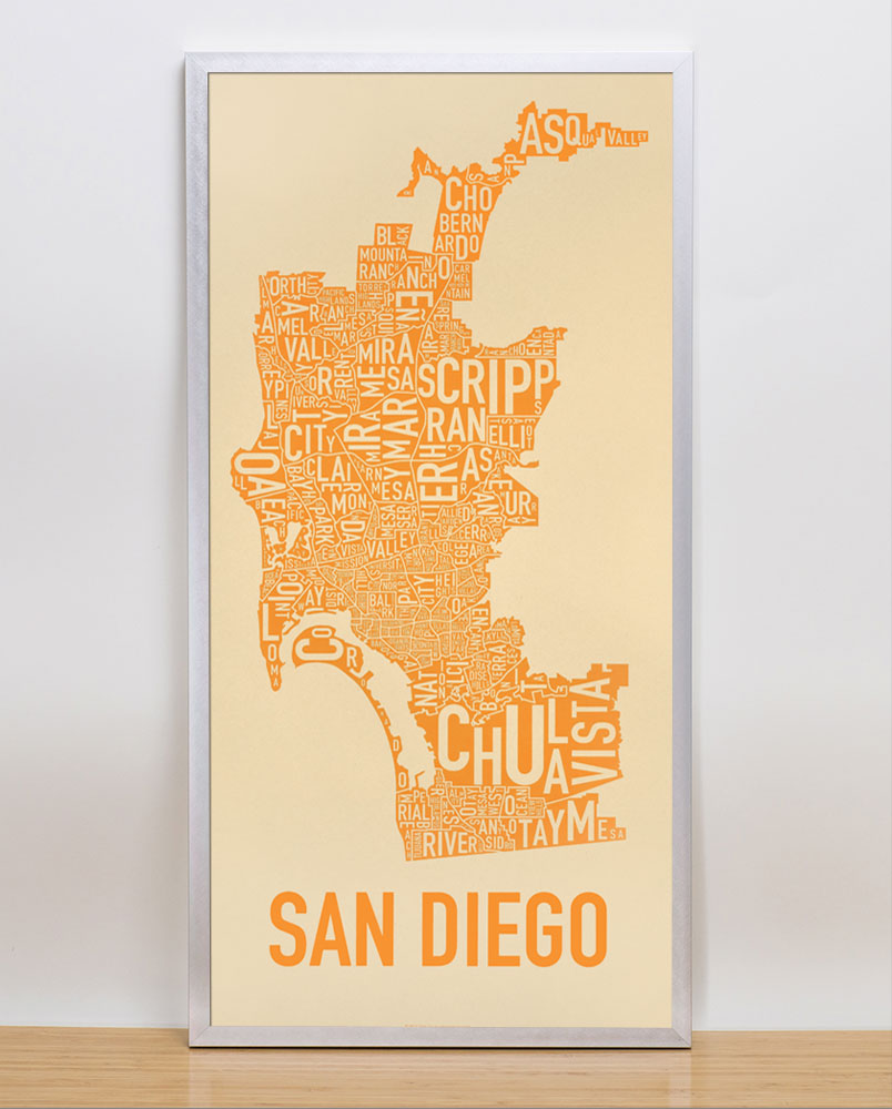 san diego neighborhood map 13quot x 26quot seventy and sunny