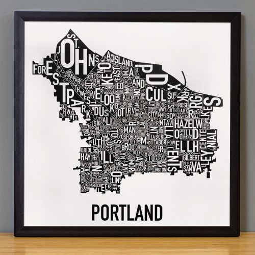 Portland Neighborhoods Map Black and White Poster in black frame
