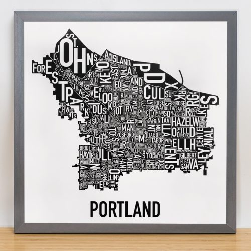 Portland Map Artwork Black and White Poster in grey frame