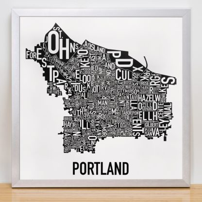 Portland Neighborhood Map Black and White Poster in silver frame