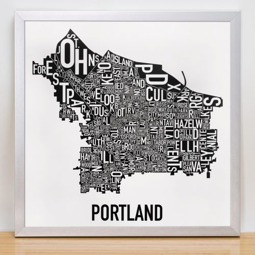 Portland Small Black and White Poster in silver frame