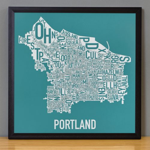 Portland Map Artwork Teal Print in Black Frame