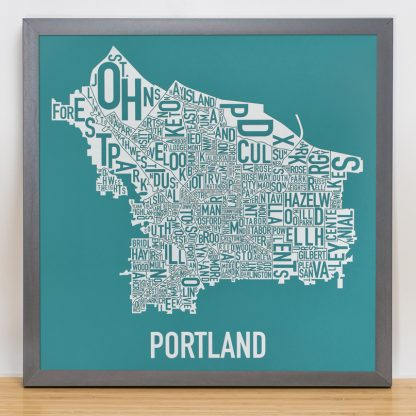 Portland Type Neighborhood Map Teal Silkscreen in Grey Frame