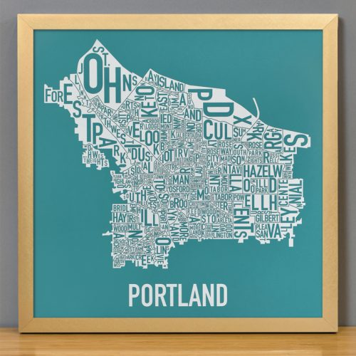 Portland Neighborhoods Map Teal Screen Print in Gold Frame