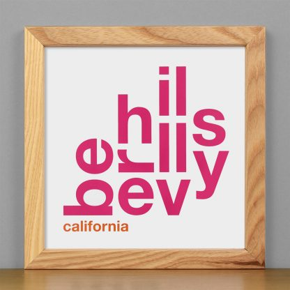 "Framed Beverly Hills Fun With Type Mini Print, 8"" x 8"", White & Pink in Light Wood Frame"