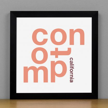 "Framed Compton Fun With Type Mini Print, 8"" x 8"", White & Coral in Black Frame"