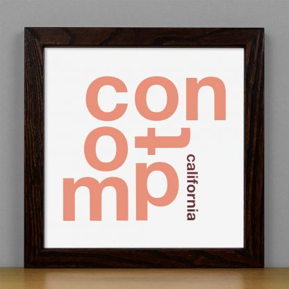 "Framed Compton Fun With Type Mini Print, 8"" x 8"", White & Coral in Dark Wood Frame"