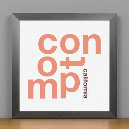 "Framed Compton Fun With Type Mini Print, 8"" x 8"", White & Coral in Steel Grey Frame"