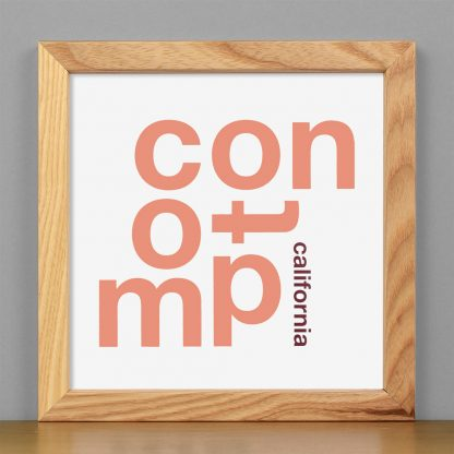 "Framed Compton Fun With Type Mini Print, 8"" x 8"", White & Coral in Light Wood Frame"