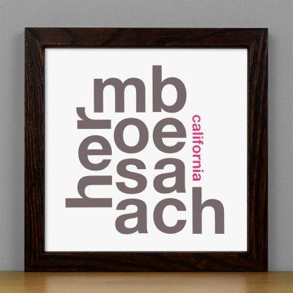 "Framed Hermosa Beach Fun With Type Mini Print, 8"" x 8"", White & Grey in Dark Wood Frame"