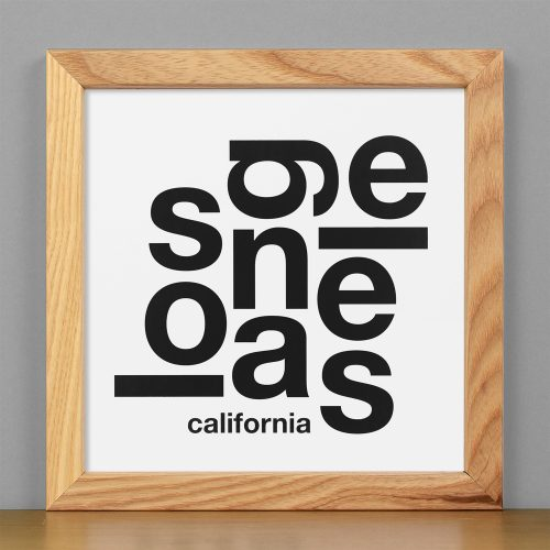 "Framed Los Angeles Fun With Type Mini Print, 8"" x 8"", White & Black in Light Wood Frame"
