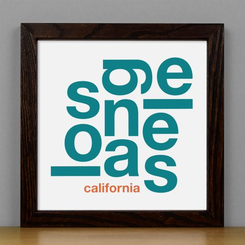 "Framed Los Angeles Fun With Type Mini Print, 8"" x 8"", White & Teal in Dark Wood Frame"
