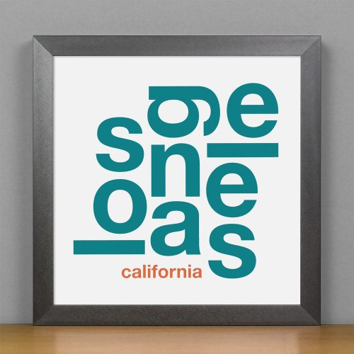 "Framed Los Angeles Fun With Type Mini Print, 8"" x 8"", White & Teal in Steel Grey Frame"