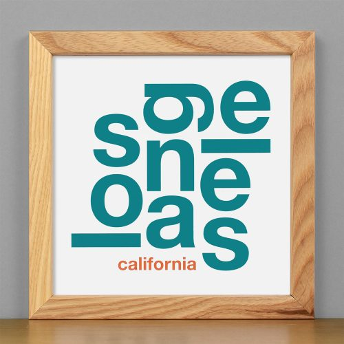 "Framed Los Angeles Fun With Type Mini Print, 8"" x 8"", White & Teal in Light Wood Frame"