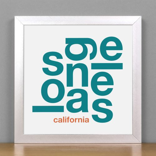 "Framed Los Angeles Fun With Type Mini Print, 8"" x 8"", White & Teal in Silver Frame"