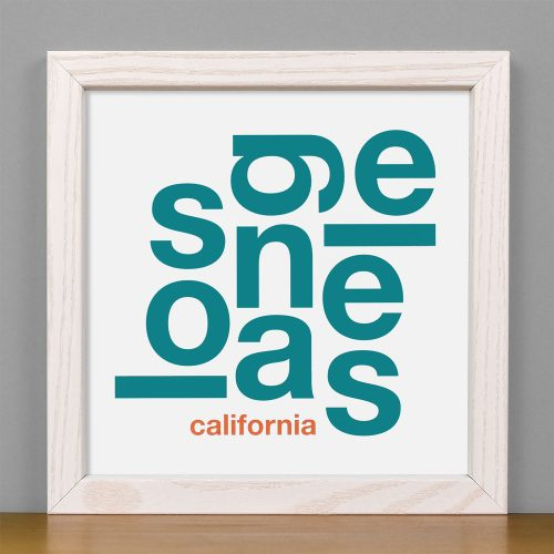 "Framed Los Angeles Fun With Type Mini Print, 8"" x 8"", White & Teal in White Wood Frame"