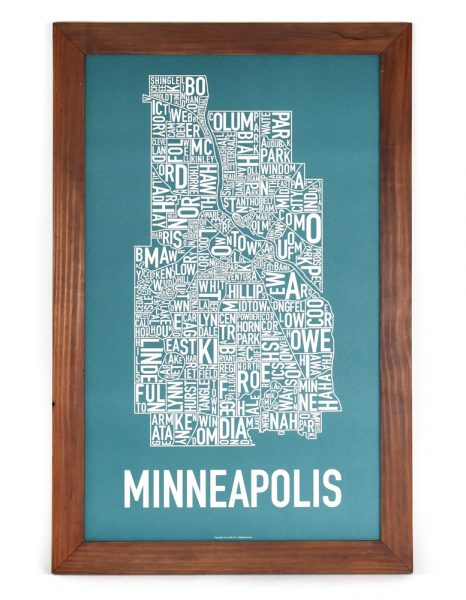 """Framed Minneapolis Poster, 16"""" x 26"""", Teal & White in Rustic Wood Frame"""