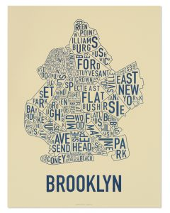 "Brooklyn Neighborhood Typography Map, Cream & Navy, 18"" x 24"""