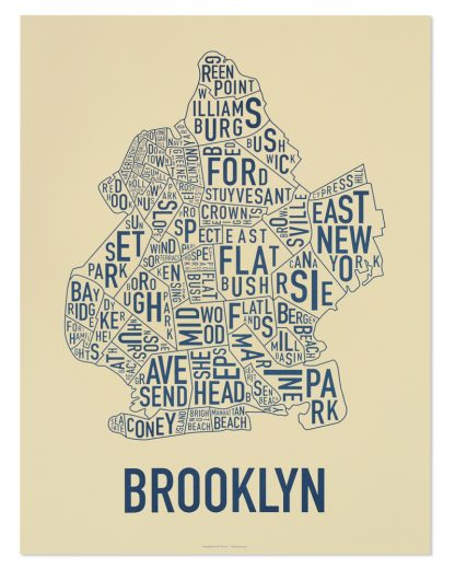 "Brooklyn Neighborhood Typography Map, Cream & Navy, 18"" x 24"""