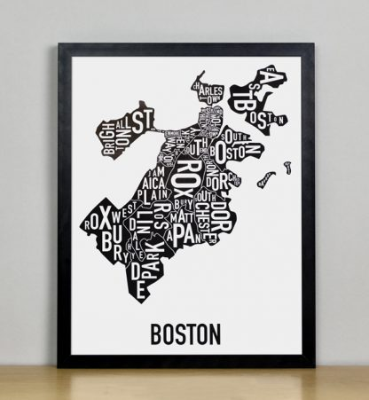 "Framed Boston Typographic Neighborhood Map, 11"" x 14"" in Black Frame"