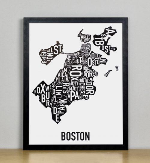 """Framed Boston Typographic Neighborhood Map, 11"""" x 14"""" in Black Frame"""