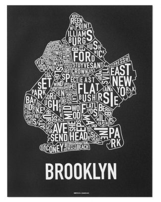 "Brooklyn Neighborhood Typography Map, Black & White, 18"" x 24"""