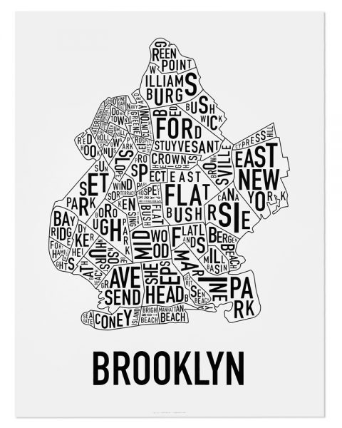 "Brooklyn Neighborhood Typography Map, Classic B&W, 18"" x 24"""