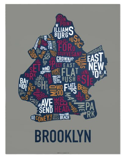 "Brooklyn Neighborhood Typography Map, Multi-Color, 18"" x 24"""