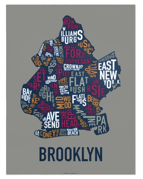 "Brooklyn Neighborhood Typography Map, Multi-Color, 18"" x 24"""