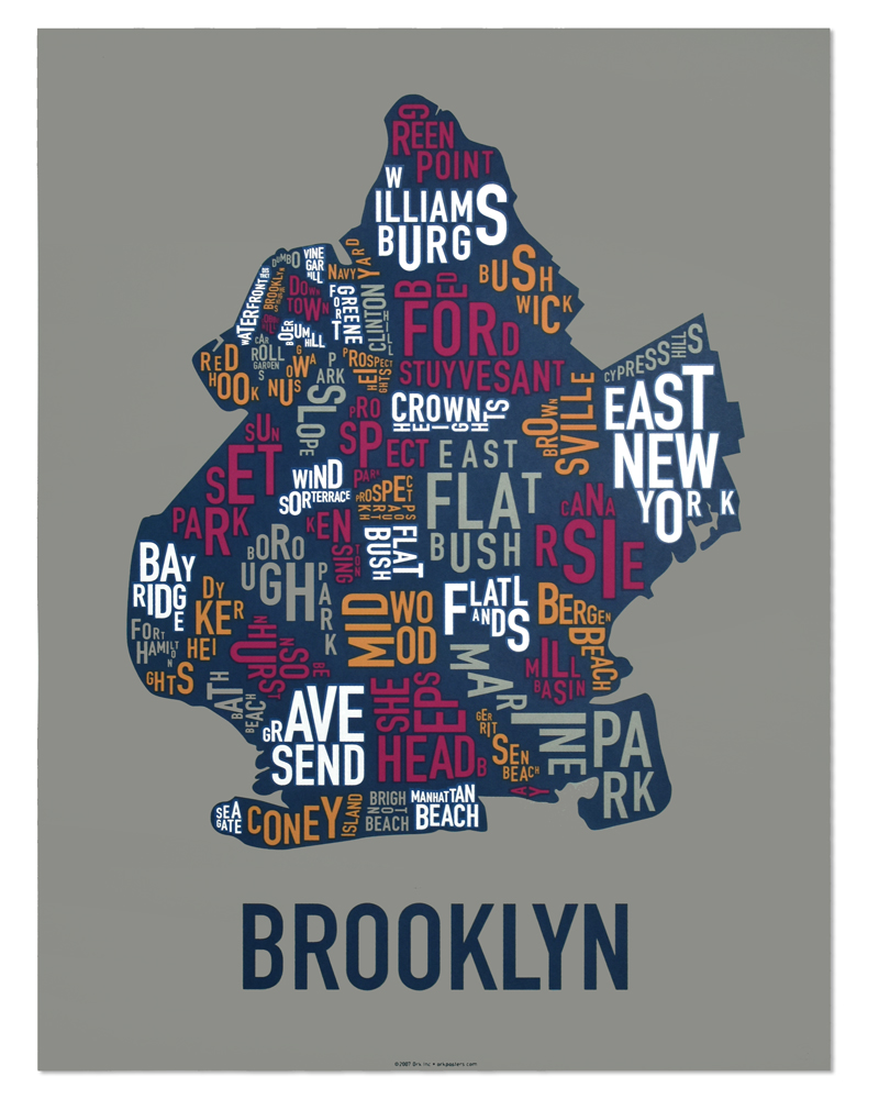Brooklyn Neighborhood Map 18 x 24 MultiColor Screenprint