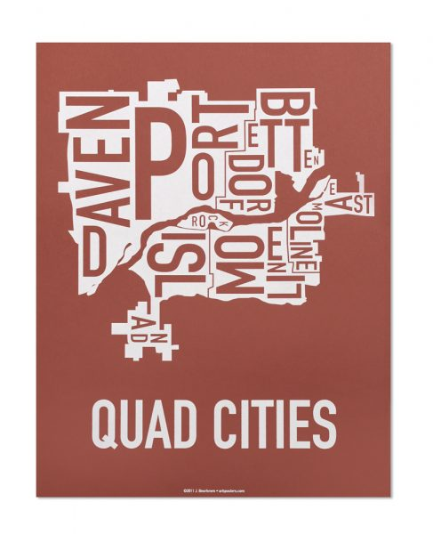 "Quad Cities Iowa Typography Map, Brick Red & White, 11"" x 14"""