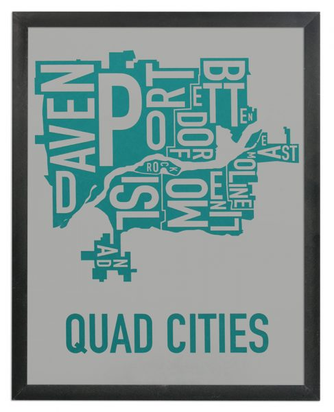 "Framed Quad Cities Iowa Typography Map, Grey & Teal, 11"" x 14"" in Black Frame"