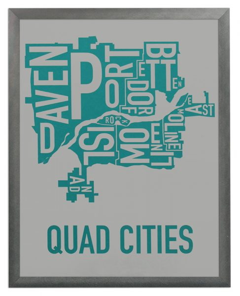 "Framed Quad Cities Iowa Typography Map, Grey & Teal, 11"" x 14"" in Grey Frame"