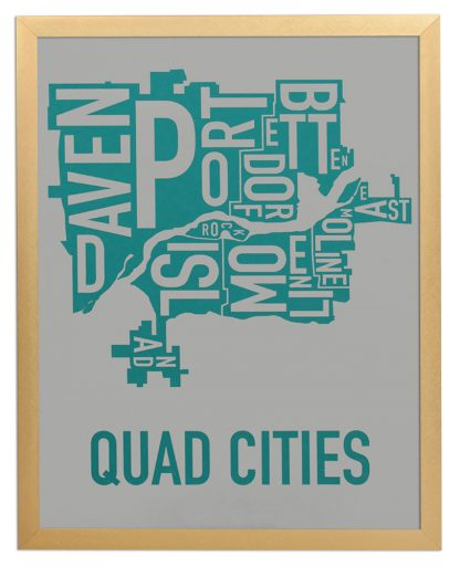 "Framed Quad Cities Iowa Typography Map, Grey & Teal, 11"" x 14"" in Bronze Frame"