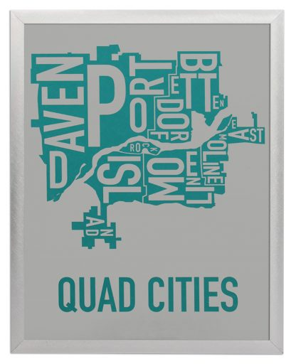 "Framed Quad Cities Iowa Typography Map, Grey & Teal, 11"" x 14"" in Silver Frame"