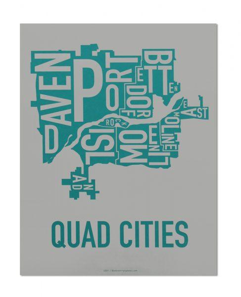 "Quad Cities Iowa Typography Map, Grey & Teal, 11"" x 14"""