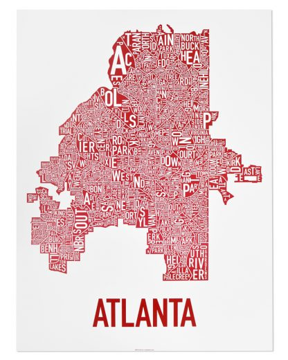 "Atlanta Neighborhood Map Poster, 18"" x 24"", White & Red"