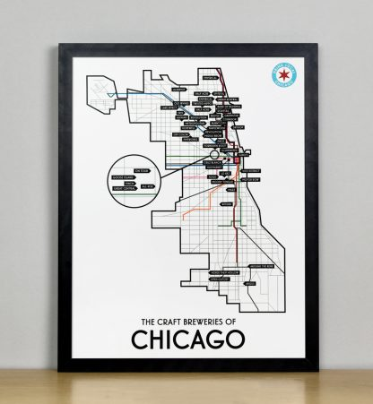 "Framed Chicago Craft Brewery Map, 11"" x 14"", 2018 Edition in Black Metal Frame"