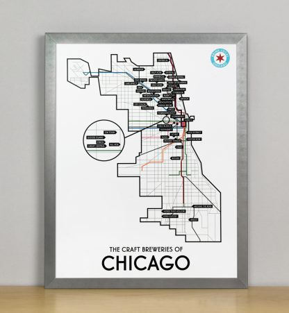 "Framed Chicago Craft Brewery Map, 11"" x 14"", 2018 Edition in Steel Grey Metal Frame"