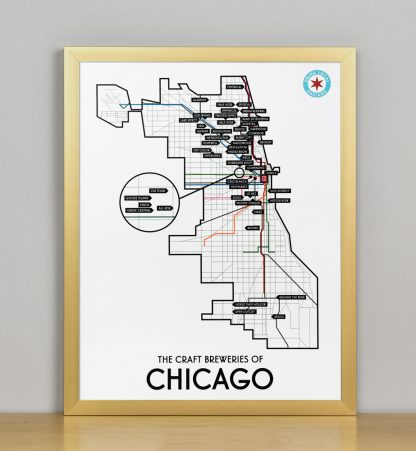 "Framed Chicago Craft Brewery Map, 11"" x 14"", 2018 Edition in Bronze Metal Frame"