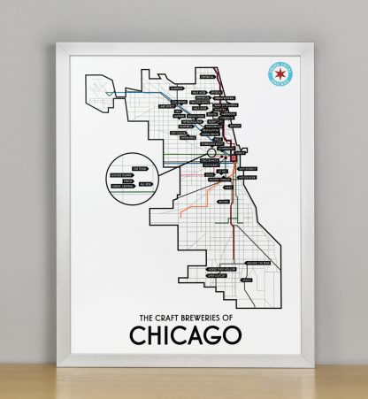 "Framed Chicago Craft Brewery Map, 11"" x 14"", 2018 Edition in Silver Metal Frame"