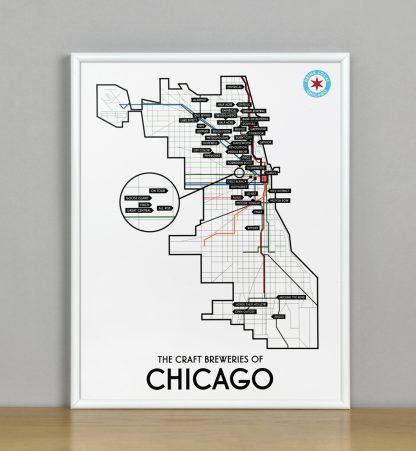 "Framed Chicago Craft Brewery Map, 11"" x 14"", 2018 Edition in White Metal Frame"