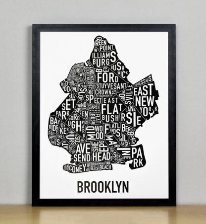 "Framed Boston Typographic Neighborhood Map Poster, B&W, 11"" x 14"" in Black Frame"