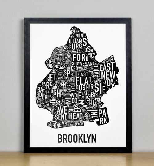 "Framed Boston Typographic Neighborhood Map Poster, B&W, 11"" x 14"" in Black Frame"