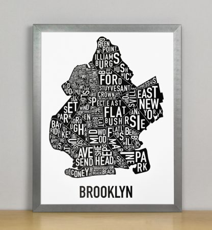 "Framed Boston Typographic Neighborhood Map Poster, B&W, 11"" x 14"" in Grey Frame"