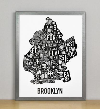 "Framed Boston Typographic Neighborhood Map Poster, B&W, 11"" x 14"" in Grey Frame"