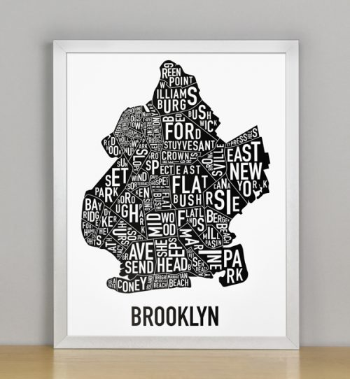 "Framed Boston Typographic Neighborhood Map Poster, B&W, 11"" x 14"" in Silver Frame"