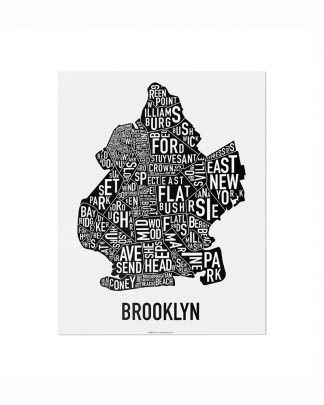 "Brooklyn New York Neighborhood Poster, Classic B&W, 11"" x 14"""