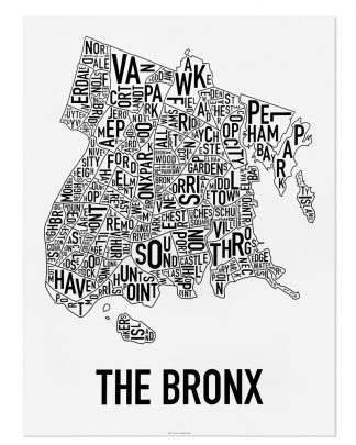 Bronx neighborhood map 18″ x 24″ classic black white poster